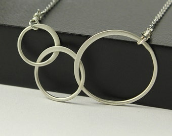 Infinity Three Ring Necklace - Sterling Silver Infinity Necklace - Matte Finish Infinity - 3 Rings Simple Necklace