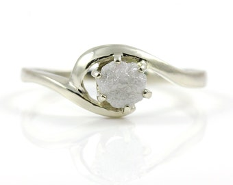 White Raw Rough Diamond Ring - 14K White Gold or Sterling Silver Solitaire Ring - Swirl Design - Uncut Unfinished Diamond Engagement Ring