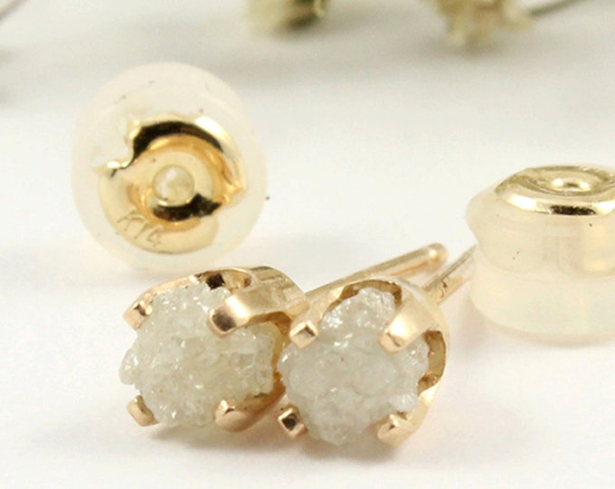 Featured listing image: APRIL BIRTHSTONE - Rough Diamonds in 14K Yellow Gold Studs - White Raw Uncut Diamonds - Gold Post Earrings - Ear Studs