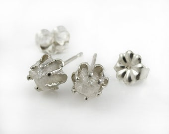 Buttercup Style Post  Earrings with Rough Diamonds - Silver Buttercup Studs - Raw Uncut Diamonds - Conflict Free - White Diamonds Ear Studs