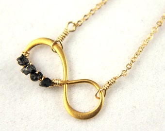 Eternity Necklace - Mother's Day Gift - 24K Gold Plated Silver Infinity - 14K Gold Filled Chain - Figure Eight Infinity Symbol
