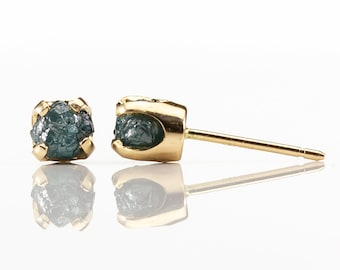 5mm Diamond Post Earrings on 14K Yellow Gold - 1ct Blue Raw Rough Diamonds - Natural Confilict Free Unfinished Diamonds