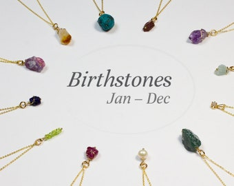Birthstone Necklace - Rough Gemstone Necklace - Birthday Necklace - Personalized Jewelry - Chakra Jewelry - Birthday Gift