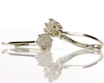 Lever Back Earrings with Rough Diamonds on Sterling Silver - White Natural Raw Diamonds Conflict Free - April Birthstone - LeverBack