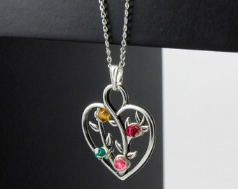 Tree of Life Pendant - Mother's Day Gift - Heart Pendant With Custom Birthstones - Wire Wrapped Tree of Life - Sterling Silver Family Tree