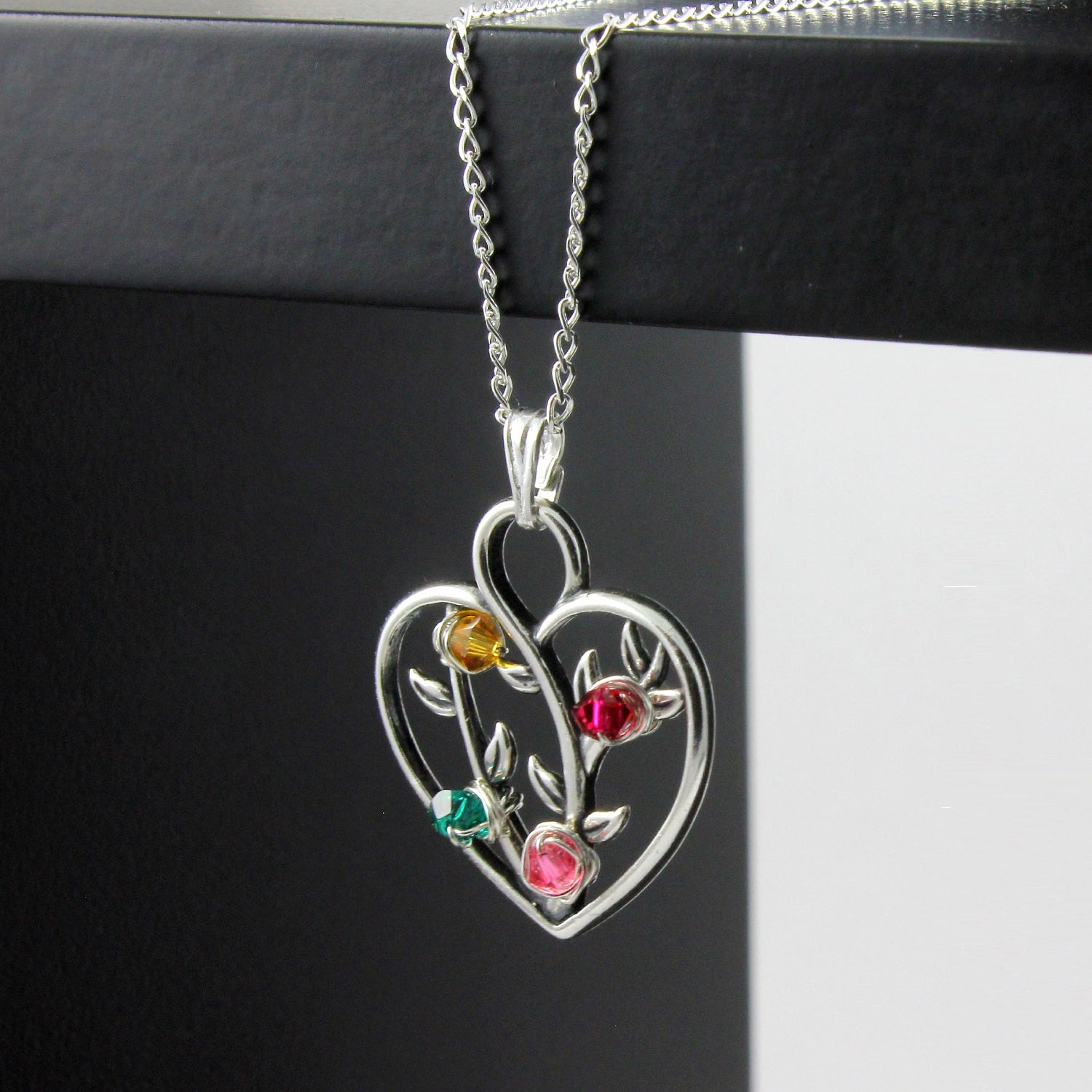 Tree of Life Heart Pendant Necklace With Custom Birthstones - Wire ...