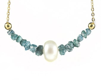 Blue  Raw Diamonds and Pearl  Necklace - Mother's Day Gift - 14K Gold Filled Necklace - Conflict Free Diamonds - Freshwater Pearl