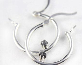 Sterling Silver Hoop Earrings - Black Rough Diamonds - Bridal Jewelry, Bridesmaids - April Birthstone