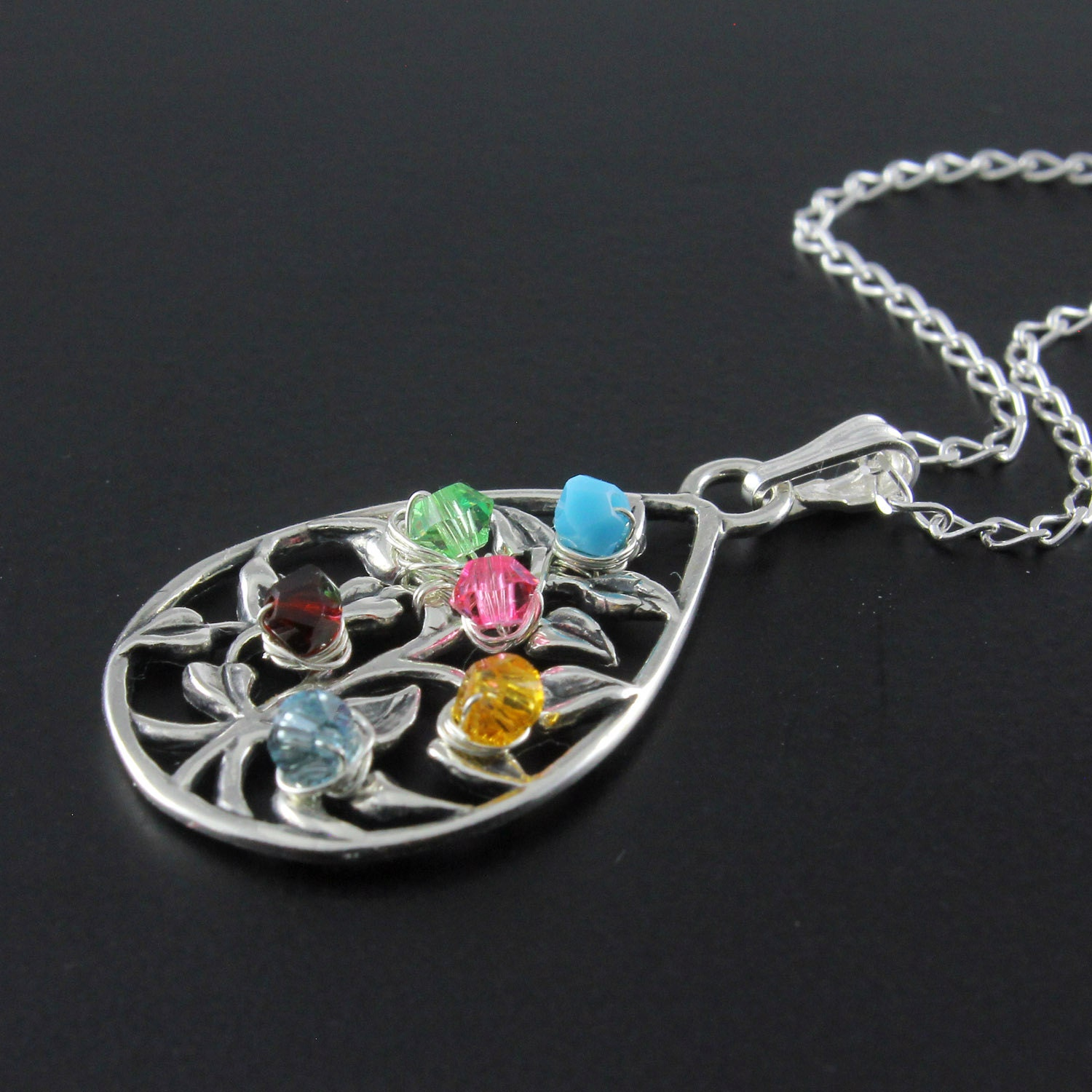 Mothers Day Gift- Tree of Life Teardrop Necklace With Custom ...