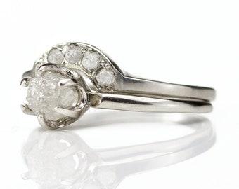 White Diamond Ring Set 14K White Gold - Classic Solitaire Ring - Rough Diamond Ring with Matching Band - Raw Uncut Diamonds