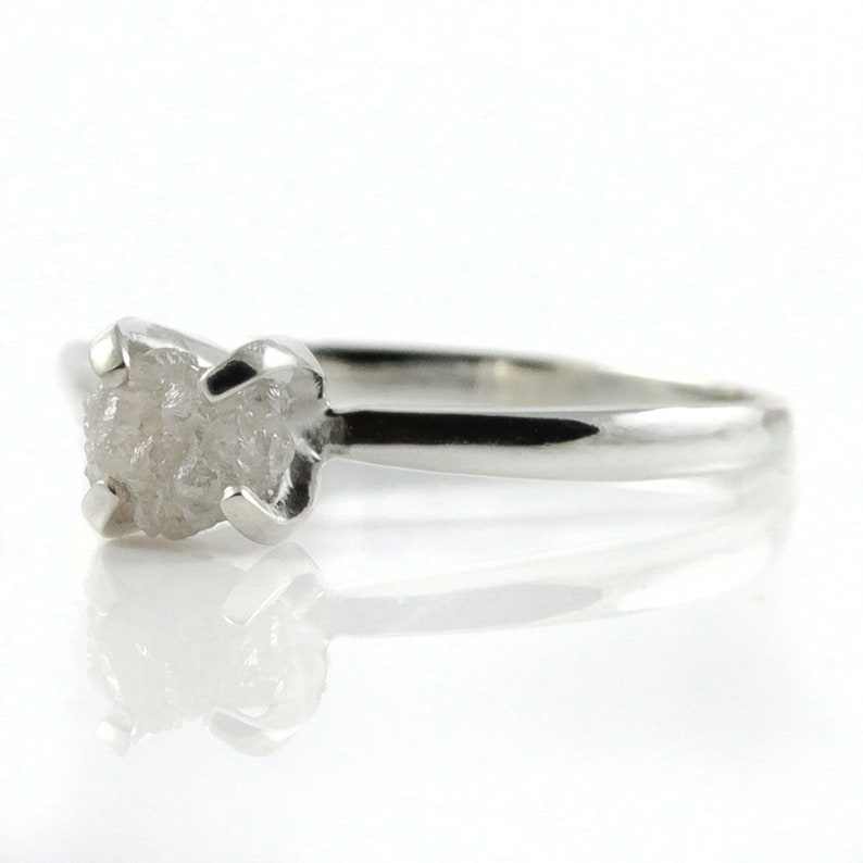 Promise Ring  White Rough Diamond  Sterling Silver image 0