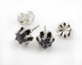 Buttercup Earrings with Black Rough Diamonds - Silver Studs - Large Raw Unfinished Diamonds - Jet Black Diamond Ear Studs