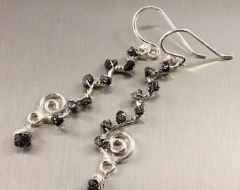 Wire Wrapped Rough Diamond Earrings - Sterling Silver Wavy Swirl Links - White Black or Blue Raw Diamonds - April Birthstone