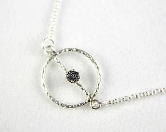 Textured Charm Necklace - Sterling Silver Rolo Chain - Black Rough Diamond - Raw Diamonds - April Birthstone