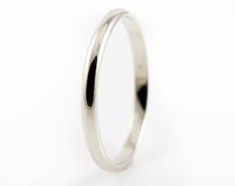 14K Gold Wedding Band - Lightweight 2mm Wedding Ring in Yellow, White or Rose Gold