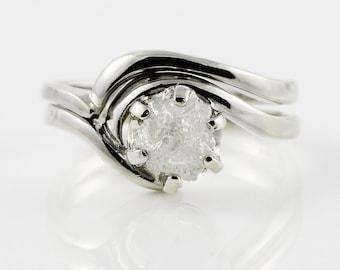 1 Carat Rough Diamond Ring Set - 14K Gold Engagement Ring Set - Swirl Design Ring with Matching Band - White Conflict Free Natural Diamond