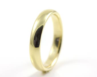 4mm Wedding Band - 14K Gold Comfort-fit Design Band - Half-Round - Solid Band - White Yellow or Rose Gold