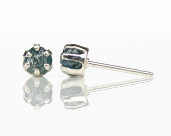 Blue Rough Diamond 4mm Post Earrings - Rare Blue Unfinished Diamonds Conflict Free - Sterling Silver Ear Studs - April Birthstone