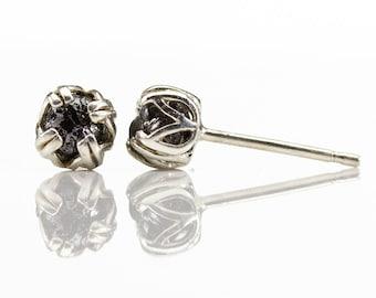 4mm Raw Diamond Post Earrings - Sterling Silver Double-prog Ear Studs - Natural Uncut Rough Black Diamonds