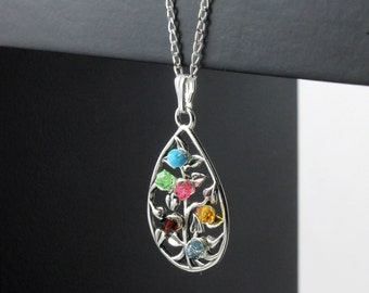 Mother's Day Gift - Tree of Life Necklace - Birthstones Necklace - Wire Wrapped Tree Teardrop - Sterling Silver Family Tree Necklace