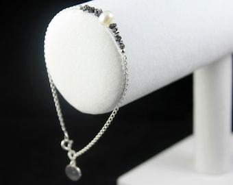 Black Rough Diamond  Bracelet - Pearl and Diamond Bracelet - Sterling Silver Initial Bracelet - Personalized Raw Diamond Jewelry