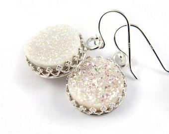 Round Druzy Earrings Sterling Silver - Mother's Day Gift - Bezel Set Earrings - White Quartz Stones - Natural Drussy - April Birthstone