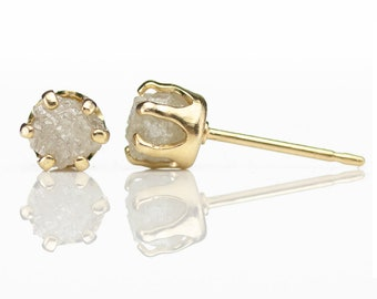5mm 14K Gold Filled Studs With Rough Diamonds - Conflict Free White Raw Diamonds Diamonds - Large Post Ear Studs - April Birthstone