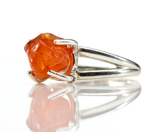 Carnelian Ring Sterling Silver - Mother's Day Gift - Rough Carnelian - Raw Stone Ring - Rough Gemstone Jewelry
