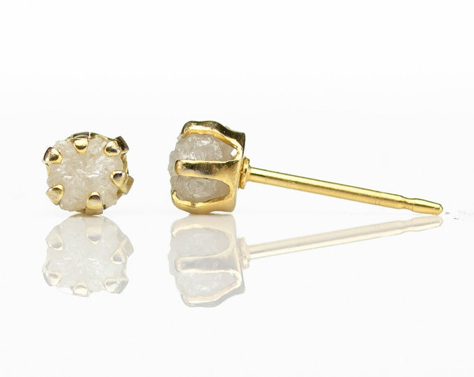 Featured listing image: Rough Diamond Earrings - 14K Gold Filled Ear Stud, 4mm - White Raw Uncut Diamonds - Conflict Free Natural Diamonds