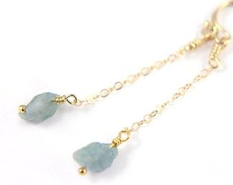 Rough Cut Gemstone Earrings, Raw Crystal Earrings, Aquamarine Earrings 14k Gold Filled, Natural Gemstones, Birthstone Gift