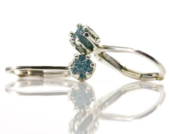 Raw Diamond Earrings - Sterling Silver Lever Back Earrings - Blue Natural Rough Diamonds Conflict Free - April Birthstone - Leverback