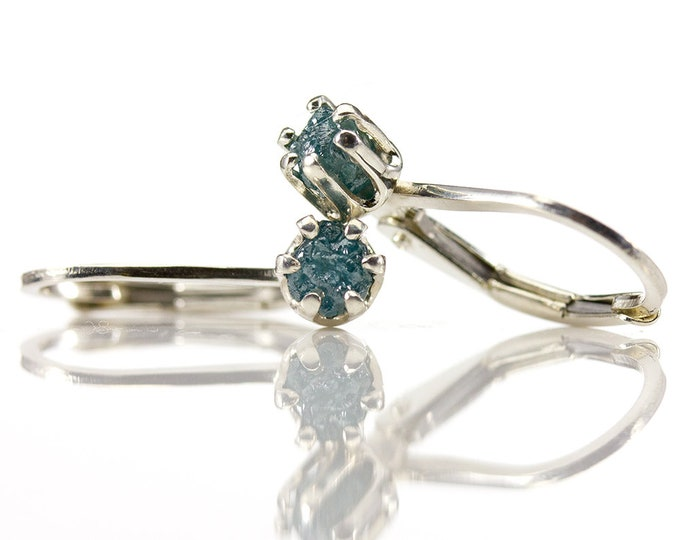 Featured listing image: Raw Diamond Earrings - Sterling Silver Lever Back Earrings - Blue Natural Rough Diamonds Conflict Free - April Birthstone - Leverback