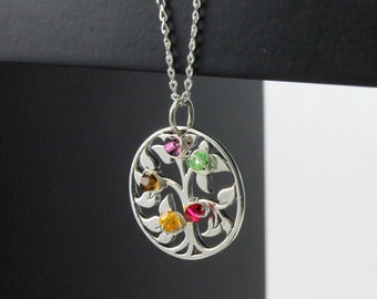 Tree of Life Necklace - Mother's Day Gift - Custom Wire Wrapped Birthstones Necklace - Wire Wrapped Family Tree Pendant on Sterling Silver