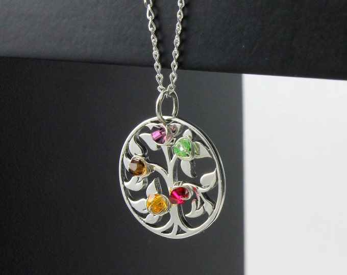 Featured listing image: Mothers Day Gift - Tree of Life Necklace With Custom Birthstones - Wire Wrapped Family Tree Pendant on Sterling Silver