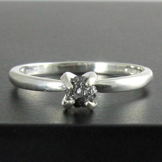 Engagement Ring April Birthstone Sterling Silver Black Diamond Ring Raw Rough Diamond Ring