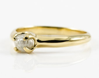 14K Gold Promise Ring with White Rough Diamond - Simple Design Ring - Natural Conflict Free Raw Diamond - Wedding Ring - Engagement