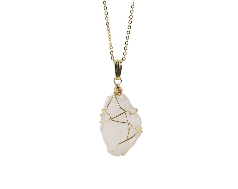 Rose Quartz Necklace  14K Gold Filled Wire Wrapped Necklace  image 0
