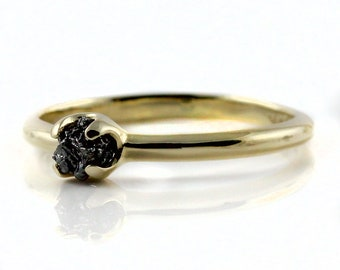 14K Yellow Gold Engagement Ring - Simple Design Ring with Jet Black Diamond - Uncut Unfinished Raw Diamond - Wedding Ring - April Birthstone