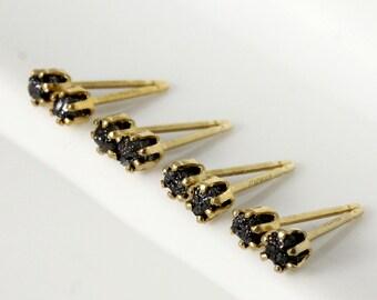 SET OF Diamond Stud Earrings - 14K Gold Filled 3mm Earstuds - Black Raw Diamond Posts - Jet Black Diamonds - Bridesmaid Gift Set