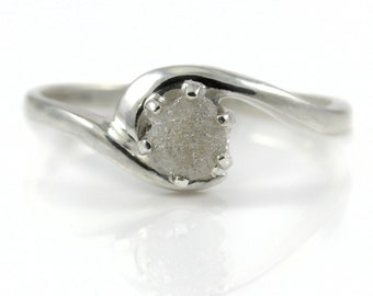 Rough Diamond Engagement Ring - Sterling Silver Swirl Design - White Raw Uncut Diamond Natural Conflict Free