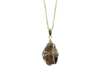 Smoky Quartz Necklace on 14K Gold Filled Chain - Large Semi-Transparent Quartz - Wire Wrapped Rough Gemstone Jewelry