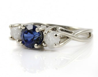 Infinity Ring with Sapphire and White Diamonds - Triple Stone 14K Gold Ring - Wedding Ring - 3 Stone Ring