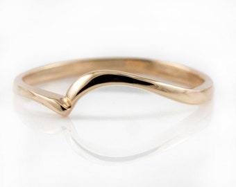 14K Rose Gold Wedding Band - Swirl Design Ring - Simple Band Stackable Ring - Custom Band