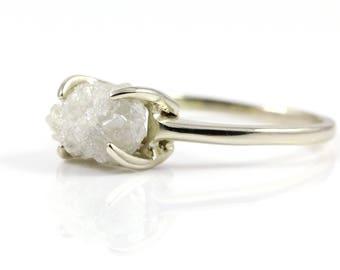 2.0 Carat Rough Diamond Ring - 14K Gold 4-prong Rectangle Base Engagement Ring - Conflict Free Natural Diamond Ring - White Raw Diamond