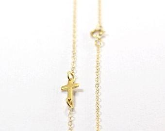 Small Sideways Cross Necklace - 24K Vermeil Gold Necklace