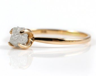14K Rose Gold Ring with White Rough Diamond - Uncut Unfinished Natural Diamond - Conflict Free - Engagement Ring Wedding - Solitaire Ring