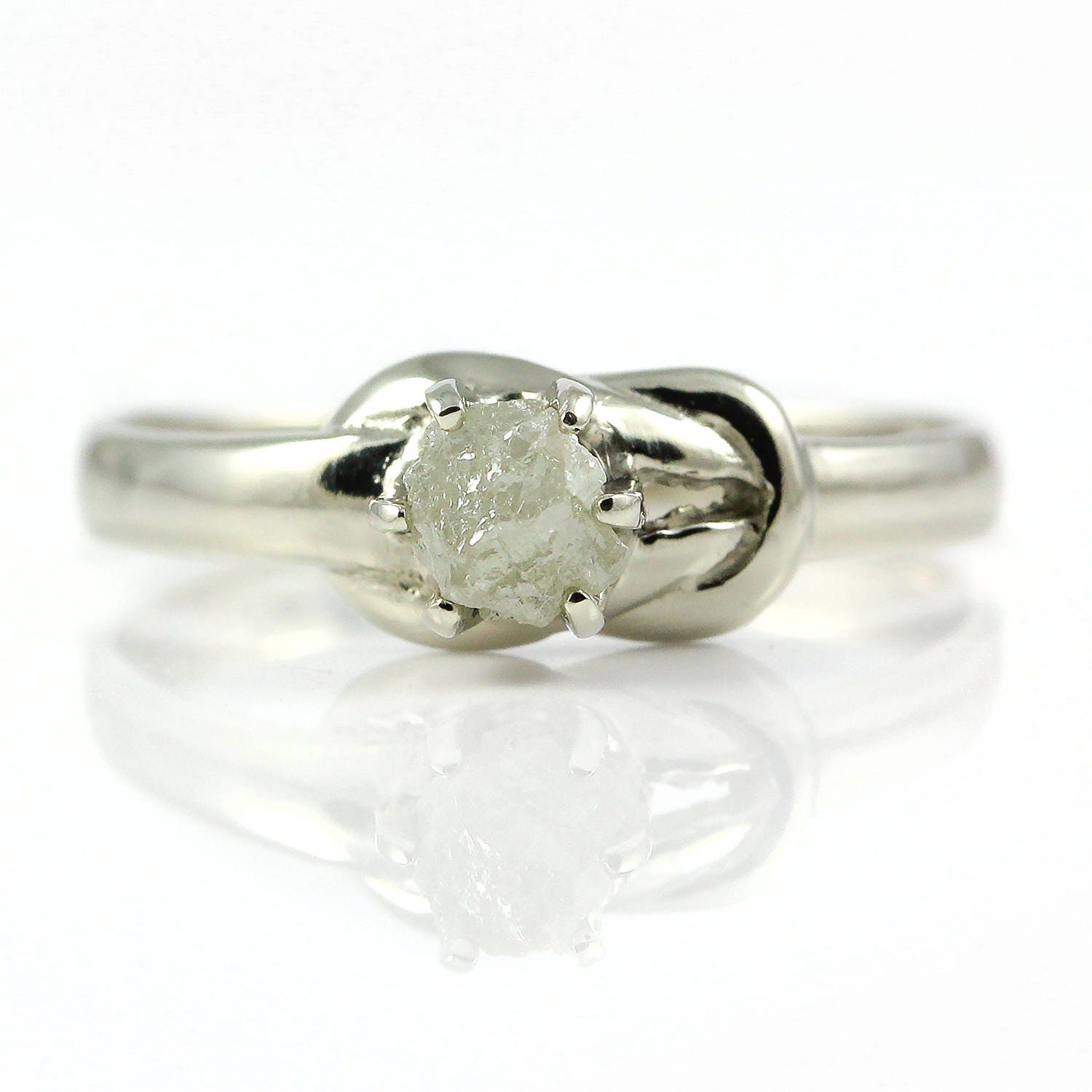 Love Knot Ring With White Rough Diamond 14K White Gold Infinity