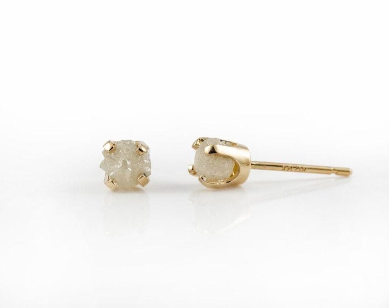 Rough Diamonds in 14K Yellow Gold Studs  White Raw Uncut image 0