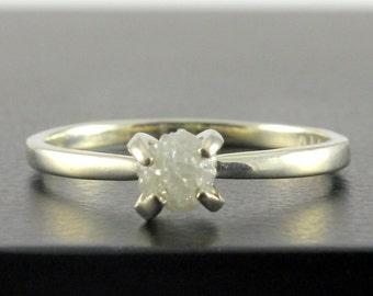 14K White Gold Ring - Prong-Set Rough Diamond Engagement Ring - White Raw Uncut Diamond Solitaire Ring - April Birthstone