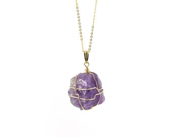 Amethyst Necklace on 14K Gold Filled - Large Purple Natural Gemstone - Wire Wrapped Rough Gemstone Jewelry - Birthstone Gift
